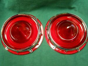 New 1957 Ford Tail Light Lenses With Retainers Pair Fairlane Ranchero T bird