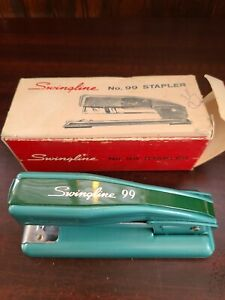 Vintage Swingline 99 Stapler With Box And Paper Insert Green turquoise