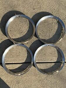 Set 4 Vintage 15 Shark Tooth 1940s 50s Steel Chrome Beauty Trim Rings Gm Ford