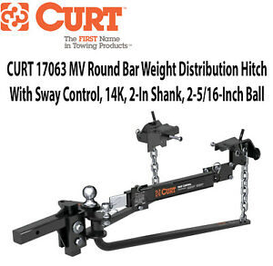 New Curt 17063 Mv Round Bar Weight Distribution Hitch Sway Control 14k Pounds