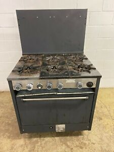 Castle 6 Burner Stove With Oven On Legs Natural Gas Tested