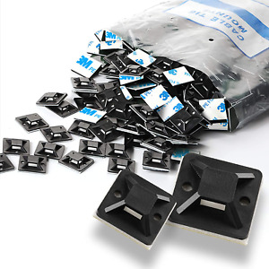 Self Adhesive Cable Tie Mounts 3m Strongly Backed Zip Base Holder Home Office
