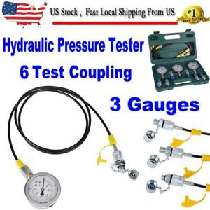 8700psi Excavator Hydraulic Pressure Test Kit 600bar Diagnostic 3 Gauge W Case