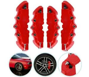 4pcs 3d Red Car Universal Disc Brake Caliper Covers Front Rear Accessories Set
