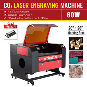 Omtech 60w 28x20inch Co2 Laser Engraver Cutter With Ruida Rotary Axis Autofocus
