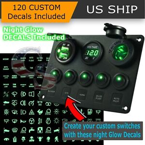 5 Gang On Off Green Led Toggle Switch Panel Voltmeter Dual Usb Car Boat Marine