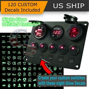 5 Gang On Off Red Led Toggle Switch Panel Voltmeter Dual Usb Car Boat Marine