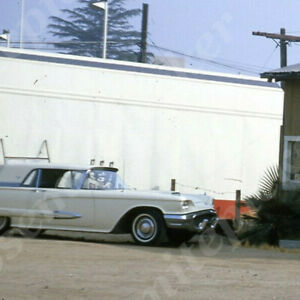 Sl09 Original Slide 1960 s Gardena Los Angeles Furniture Store T bird Car 457a