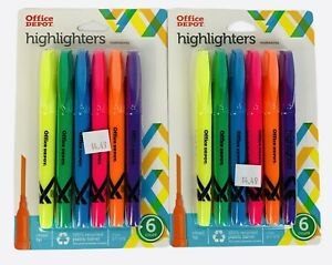 Highlighters Assorted Colors Pack Of 6 Office Depot Brand Pen style Lot Of 2