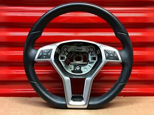 2012 2015 Mercedes Slk R172 Steering Wheel Black Leather Flat Bottom Oem