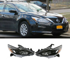 Fits 2016 2018 Nissan Altima Headlights Headlamps Black Factory Style Pair