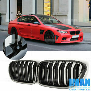 Gloss Black Dual Slat Front Kidney Grill Grille For Bmw F10 528i 535i M5 11 16