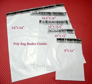 20 Poly Bag Mailer Assortment 5 Medium To Large Sizes Plastic Shipping Bags