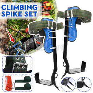 Tree Climbing Spike Spurs Safety Belt Straps Rope Adjustable Stainless Steel U