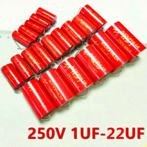 Audiophiler Mkp 250v 1 1 5 2 2 4 4 7 5 6 8 2 10 15 47uf Audio Mkp Capacitor Red