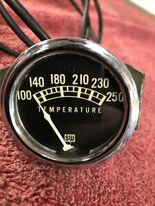 Vintage Stewart Warner Mechanical Water Temp Gauge 100 250 Hot Rat Rod