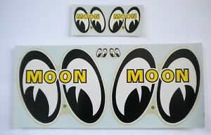 Set Large Small Original Yellow Moon Water Decals Hot Rod Drag Race Mooneye