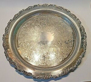 Vintage Oneida Silver Plated Pierced Serving Tray Great Border Large 15