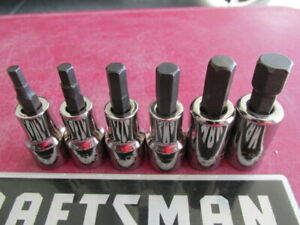 Vintage Sears Craftsman Usa 6 Pc Hex Key Allen Head Socket Set Gk Series Nos