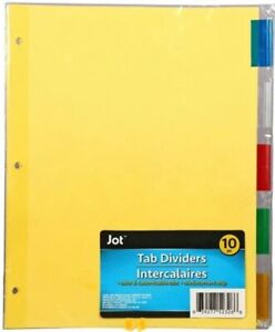 Jot Tab Dividers Binder Page Index Dividers 10 Ct Insertable Multicolor Tabs