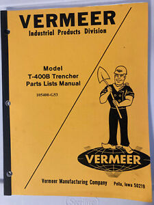 Vermeer T 400b Trencher Parts Lists Manual