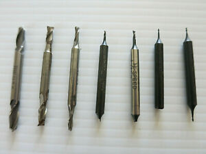 Lot Of 7pcs Used Small 2 Flute Hss End Mills Usa Made Free Shipping