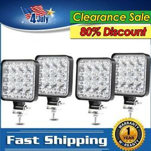 4x Square 48w Led Work Light Pods Flood Spot Lamp Car Truck Off Road Tractor 4wd
