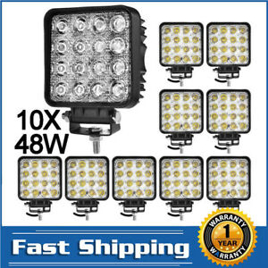 8x Square 48w Led Work Light Pods Flood Spot Lamp Car Truck Tractor Waterproof