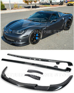 For 05 13 Corvette C6 Z06 Zr1 Style Hydro Carbon Fiber Front Lip Side Skirts