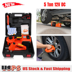 Car Jack 12v Dc 5 Ton Electric Hydraulic Floor Lift Jack Impact Wrench Garage Us