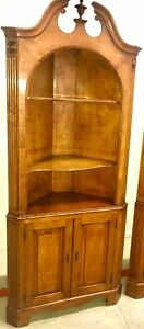 Pair Corner Cabinets Curio Display Bookcase Cherry Berkey And Gay Traditional