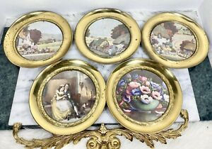 Vintage Round Brass Picture Frames Small England Country Town Village Flowers 5