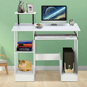 Wood Computer Desk Pc Laptop Table Workstation Study Home Office Furniture White