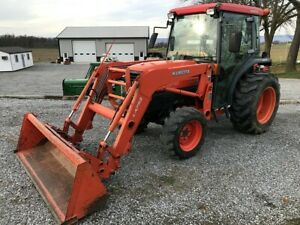 Kubota L3430hst Cab Tractor W Loader Hydro 1593 Hrs Runs Great Quick Attach