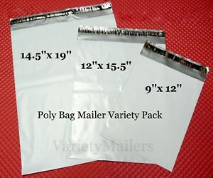 12 Poly Bag Mailer Variety Pack 3 Med Lrg Sizes Self sealing Shipping Bags