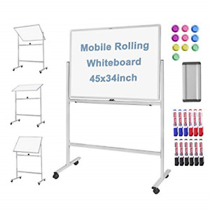 Large Mobile Rolling Whiteboard 45x34 Inches double Sided Dry Erase Standing On