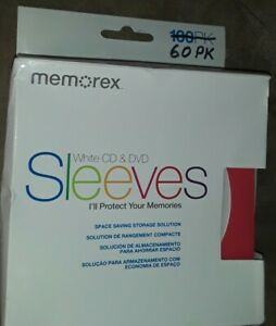 60 Memorex White Cd Dvd Paper Sleeves Window Flap Open Box