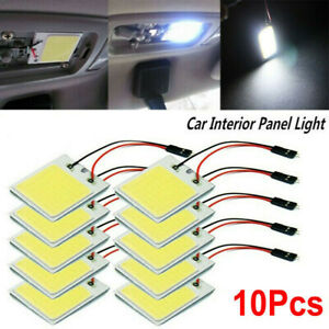Usa 10pcs White 48 Smd Cob Led T10 4w 12v Car Interior Panel Lights Dome Bulb
