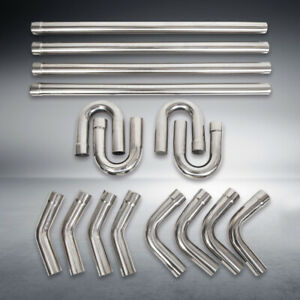 2 5 Stainless Steel T304 Diy Custom Mandrel Exhaust Pipe Straight bend Kit 16pc