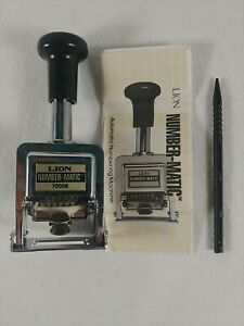 Lion Number matic Automatic Numbering Machine Ink Stamper 70006 6 Wheel No Ink