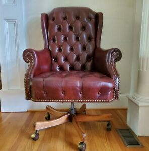 Burgundy Tufted Leather Nailhead Trim Swivel Office Executive Rolling Desk Chair