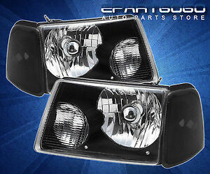 2001 2008 Ford Ranger Truck 4pc Euro Crystal Headlights Black Corner Lamps