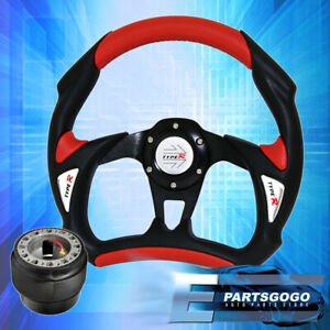 Type R Pvc Black Red Battle Style Steering Wheel Hub Adapter For 90 93 Integra