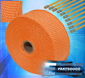 30ft X 2 X1 5mm Jdm Heat Thermo Wrap Cover Exhaust Turbo Charger Header Orange