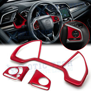 Red Steering Wheel Button Dashboard Panel Decor Trim For Honda Civic 2016 2020