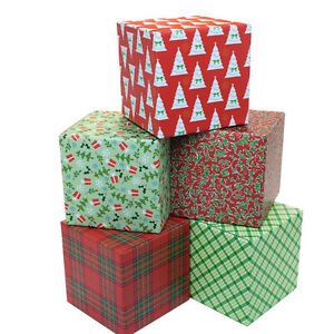 Holiday Gift Shipping Boxes pack Of 5 Assorted Patterns 6 x6 x6