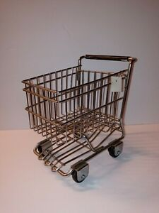 New Cute World Market Mini Metal Rolling Chrome Shopping Cart Basket Doll Decor