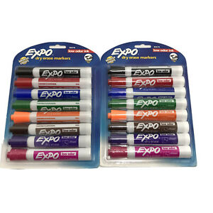 2 Pack Lot 8 Dry Erase Marker Set Chisel Tip Assorted Colors Low Odor Expo 80678
