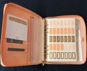 Kikki K Leather Personal Zip Planner Large Luxury Coral Brand New