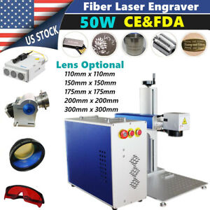 Fda Ce 50w Split Fiber Laser Marking Engraving Machine Rotary Axis Include